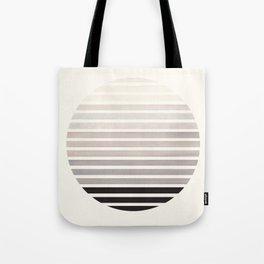 Grey Mid Century Modern Minimalist Scandinavian Colorful Stripes Geometric Pattern Round Circle Fram Tote Bag