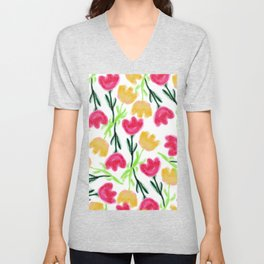 Bright pink mustard yellow watercolor tulip flowers Unisex V-Neck