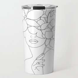 Minimal Line Art Woman with Orchids Travel Mug