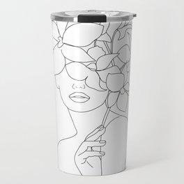 Minimal Line Art Woman with Orchids Travel Mug