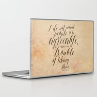 jane austen Laptop & iPad Skins featuring Jane Austen Quote Design - Agreeable by Evie Seo