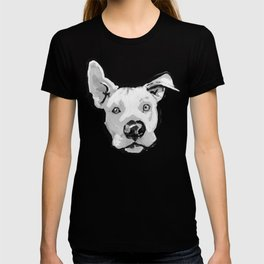 RESCUE ME Pit Bull Pitbull Dog Pop Art black and White Painting by LEA T-shirt