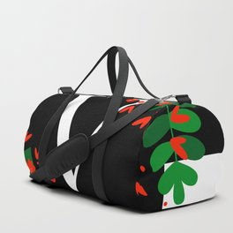 V - Monogram Black and White with Red Flowers Duffle Bag