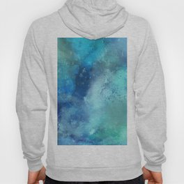 Abstract navy blue teal turquoise watercolor pattern Hoody