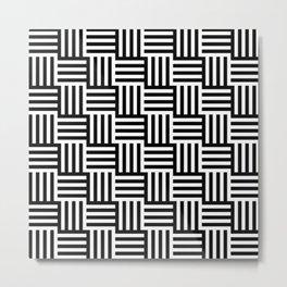 Black And White Basket Weave Metal Print