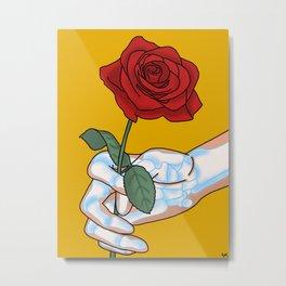 Skeleton Rose Metal Print