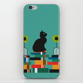Cat, books and flowers iPhone Skin