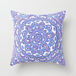Lilac Spring Mandala - floral doodle pattern in purple & white Throw Pillow
