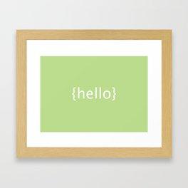 {Hello} postcard Framed Art Print