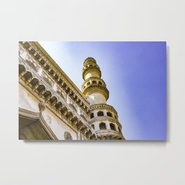 Looking up at One of the Minarets at the Charminar Mosque in Hyderabad, India Metal Print