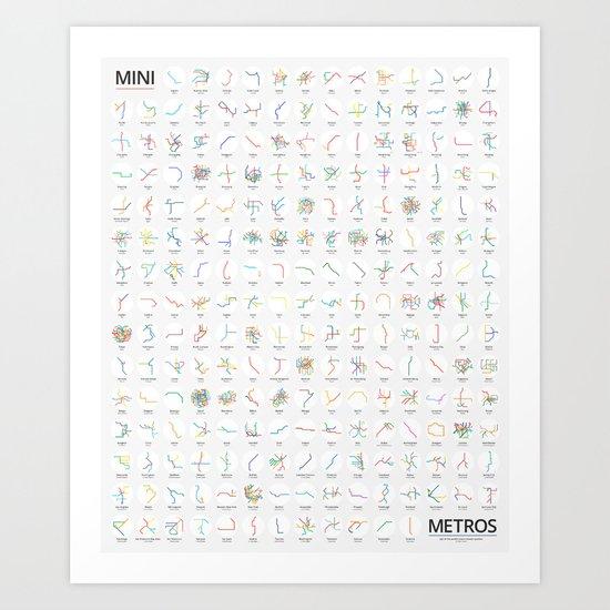 Mini Metros - Worldwide (Color) Art Print