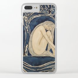 Girl sleeping under magnolia flowers Clear iPhone Case