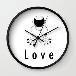 love . woman hugging man Wall Clock
