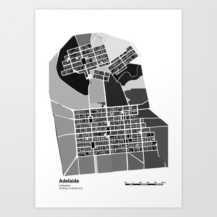 Adelaide black white map art print