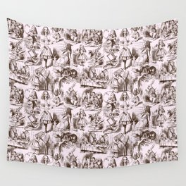 Alice in Wonderland | Toile de Jouy | Brown and Pink Wall Tapestry