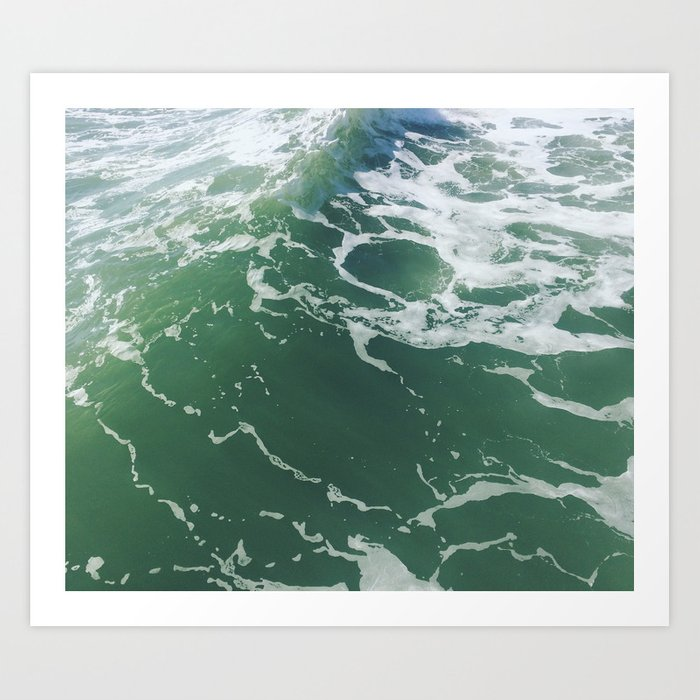 Sea Foam Green Ocean Wave Photograph Art Print By Avrah