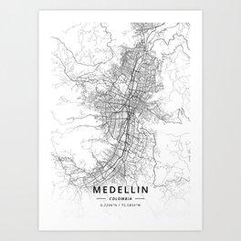 Medellin, Colombia - Light Map Art Print