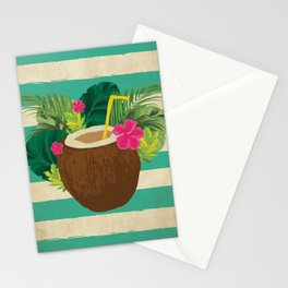 Mai Tai Mahalo - Kitschy Hawaiian Cocktail in a Coconut Shell Stationery Cards