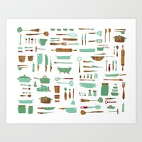 kitchen Art Prints featuring Kitchen by Mathilde Ruau
