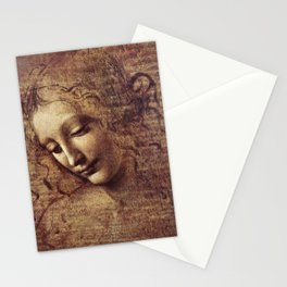 Leonardo Da Vinci - Head of a young woman with tousled hair or, Leda Stationery Cards