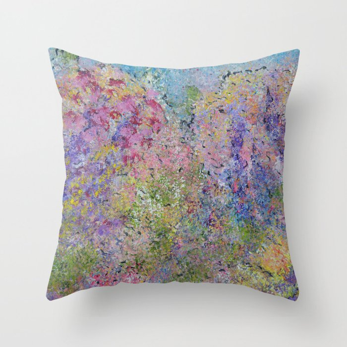Spring Hydrangeas, Pastel Abstract, Modern Painting Throw Pillow
