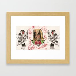 smoke break burse and the birds Framed Art Print