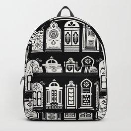 Moroccan Doors – White Ink on Black Backpack