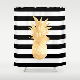 Gold Pineapple Black and White Stripes Shower Curtain