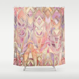 Glowing Coral and Amethyst Art Deco Pattern Shower Curtain
