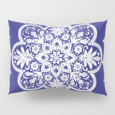 Floral Doily Pattern | Blue and White Pillow Sham