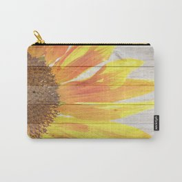 Sunflower on Wood Carry-All Pouch