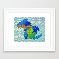 michigan Framed Art Prints featuring Michigan by Dusty Goods