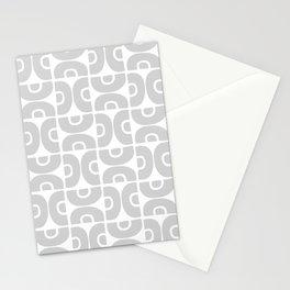 Groovy Mid Century Modern Pattern 731 Gray Stationery Cards