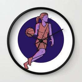 Woman Basketball Player Dribbling Mono Line Art Wall Clock