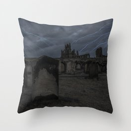 Whitby Abbey darkness Throw Pillow