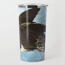 The hawk hangs perfect in mid air.. Travel Mug