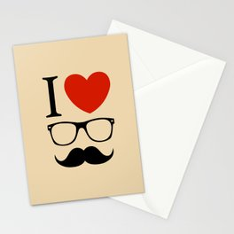 I love glasses and mustaches Stationery Cards