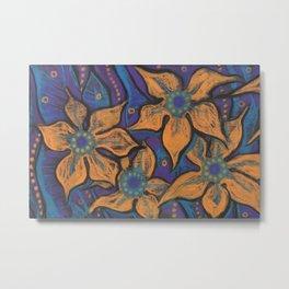 Golden flowers, decorative painting, pastel, floral motive Metal Print