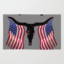 Patriotic American Flag Texas Longhorn Abstract Art Rug