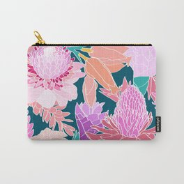 Ginger Flower in Dark Teal Green Carry-All Pouch