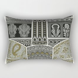 Indian pattern from Lornement Polychrome (1888) by Albert Racinet (1825-1893) Rectangular Pillow