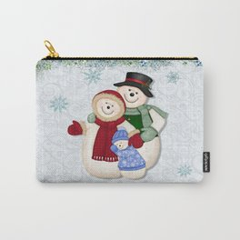 Snowman and Family Glittered Carry-All Pouch