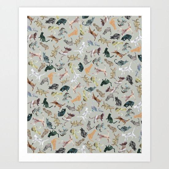 Marble Cats Art Print