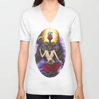 baphomet V-neck T-shirts featuring Baphomet by Sam Martinez