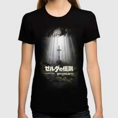 Master Sword in Ruins (Breath of the Wild) X-LARGE Womens Fitted Tee Black
