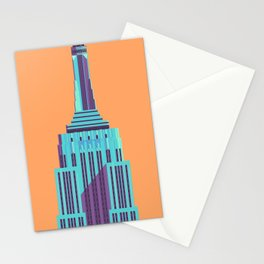 Empire State Building New York Art Deco - Orange Stationery Cards