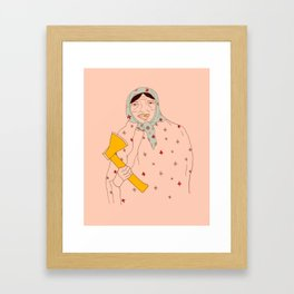 Babushka lady Framed Art Print
