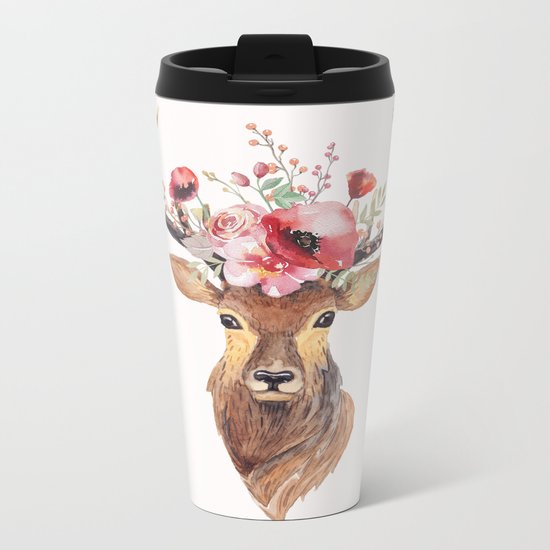 Bohemian Deer Metal Travel Mug