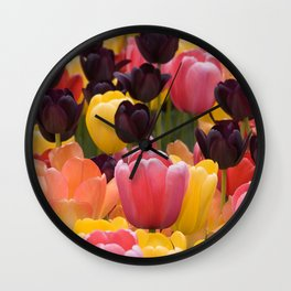 Black Pink and Yellow Tulips by Steve Ricci Wall Clock