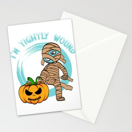"""I'm Tightly Wound"" T-shirt Design Spooky Creepy Happy Halloween Scary Ghost October November Stationery Cards"